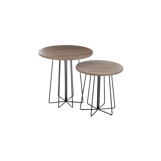 Set de 2 tables gigognes en bois et métal