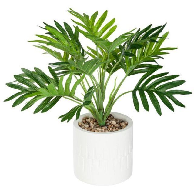 paris prix plante artificielle en pot palmier 28cm vert pas cher achat vente petite d co. Black Bedroom Furniture Sets. Home Design Ideas