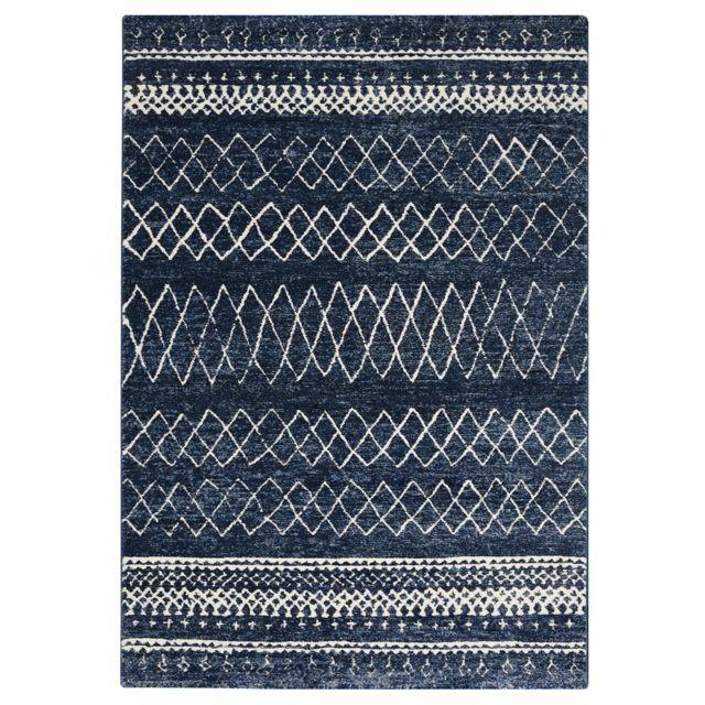 Koton Tapis De Salon Berbere Bleu Blanc 160x230cm Pas Cher Achat