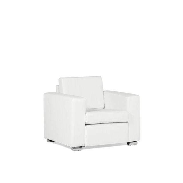 BELIANI Fauteuil en cuir blanc HELSINKI - blanc