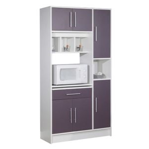 desserte buffet micro ondes blanc aubergine pas cher achat vente meubles de cuisine. Black Bedroom Furniture Sets. Home Design Ideas