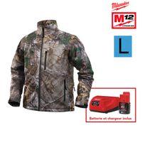 Milwaukee - Veste chauffante camouflage M12 Hj Camo4-0 taille L 4933451598 - Batterie M12 2.0Ah et chargeur C12C 4933451900