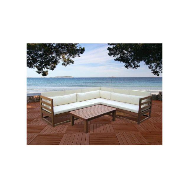Vente-unique - Salon de jardin Madura Ii en bois d\'eucalyptus: un ...