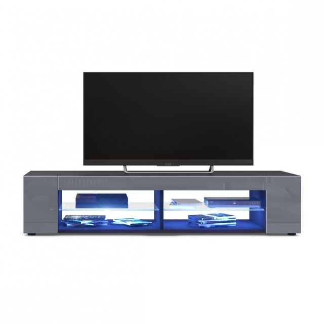 Mpc Meuble Tv corps Noir mat Façades en Gris laquées led Bleu