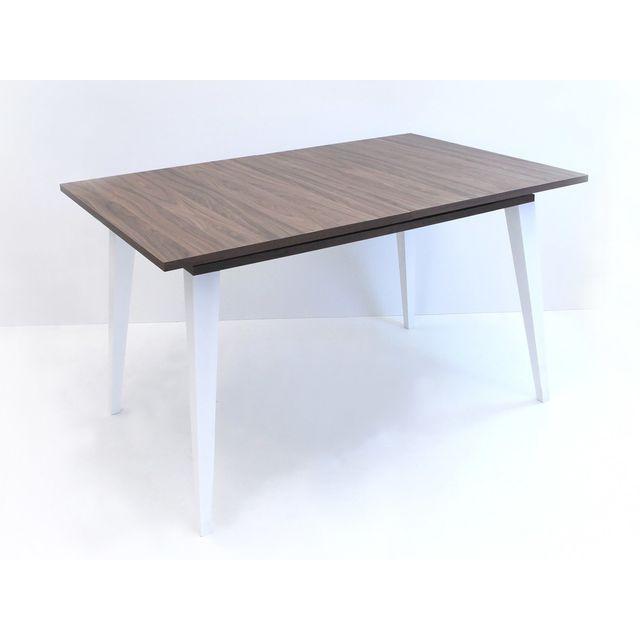Symbiosis Table à manger à rallonge avec pieds biseautés L134/174 cm Prism - Noyer/Blanc