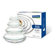Glasslock - Set de 4 plats ronds hermétiques avec couvercles hermétiques - Micro-ondes