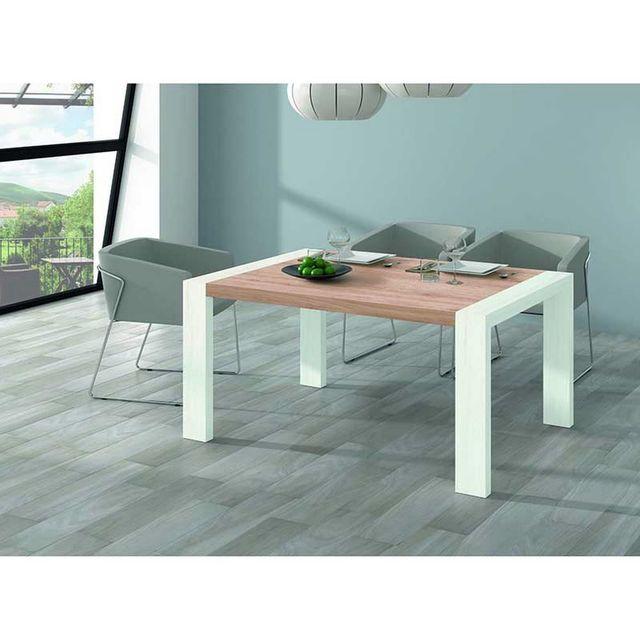 Kronos Table A Manger Rectangulaire Extensible 144/204 Finition Plateau Chene Clair-Pieds Polar Mod. M-302
