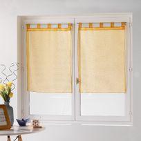 Douceur D'INTERIEUR - Une paire de rideau voilage 60 x 160 cm coupe dandy jaune