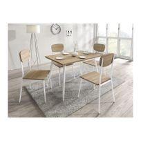 Chloe Design - Ensemble table à manger et 4 chaises Ronda - Bois clair