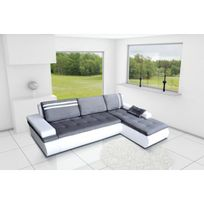 Meublesline - Canapé d'angle moderne 4 places Napoli gris et blanc