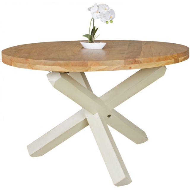 COMFORIUM Table à manger ronde 120 cm en bois d'acacia massif coloris naturel et blanc