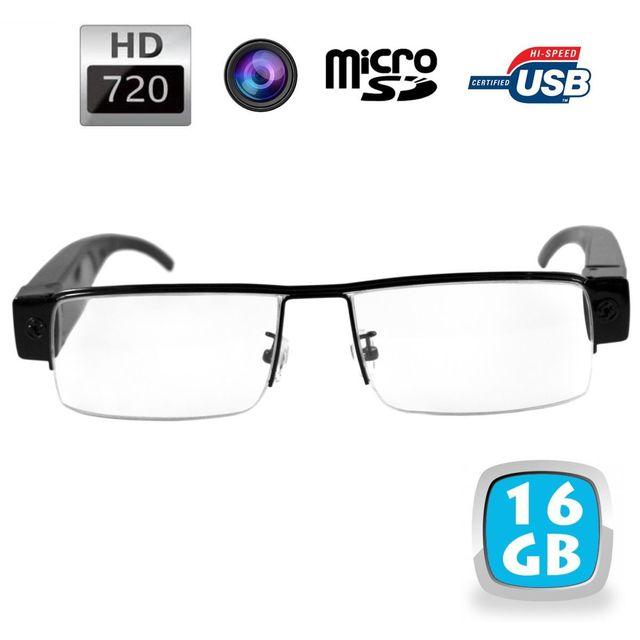Yonis Lunettes de vue demi-lune mini caméra espion Hd 720p Micro Sd 16 Go Ces lunettes caméra 16 Go compactes vous permettront de filmer ce que vous regardez en qualité Hd (1280x720p).La caméra est invisible, directement intégrée dans la monture.L'enregis