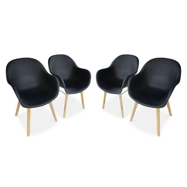 ALICE'S GARDEN Lot de 4 fauteuils scandinaves CELEBES, acacia et résine injectée, anthracite, Intérieur/extérieur