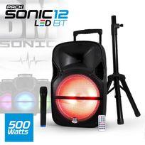 """Bm Sonic - Enceinte sono mobile Led 500W 12"""" - Usb/BT/SD + Micro Vhf + Pied - Sonic-12LEDBT"""