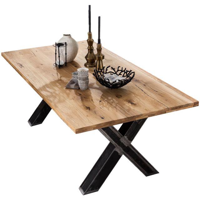 Comforium table manger rustique 220 x 100 cm en bois Table bois rustique
