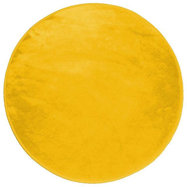 douceur d 39 interieur tapis rond velours jaune moutarde 90 cm pas cher achat vente tapis. Black Bedroom Furniture Sets. Home Design Ideas