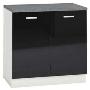 comforium meuble bas de cuisine design 80 cm avec 2 portes coloris blanc mat et noir laqu. Black Bedroom Furniture Sets. Home Design Ideas