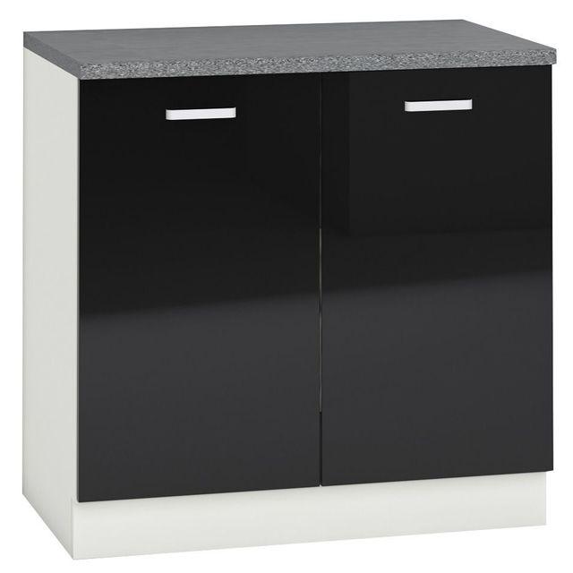 Comforium Meuble bas de cuisine design 80 cm avec 2 portes coloris blanc mat et noir laqué