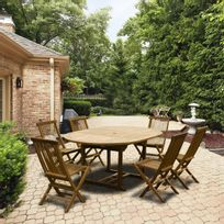 Cemonjardin - Table : L 120/170 avec la rallonge, x 120 cm Chaises : 56,5 x 45,5 x 89,5 cm 6 places assises En teck grade A haut de gamme