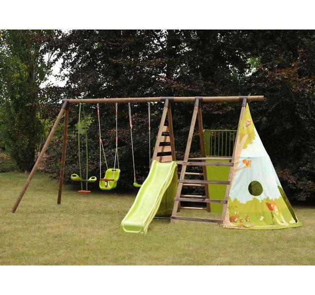 soulet aire de jeux bois fort jungle pas cher achat. Black Bedroom Furniture Sets. Home Design Ideas