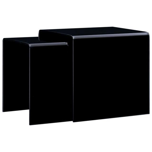 Vidaxl Tables Gigognes 2 pcs Noir Verre Trempé Tables Basses Tables d'Appoint