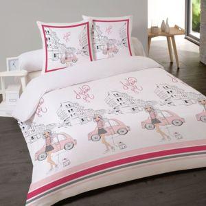 les douces nuits de ma housse couette 200x200 2 taies fashion girl rose blanc 200cm x. Black Bedroom Furniture Sets. Home Design Ideas