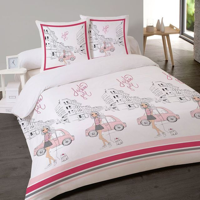 les douces nuits de ma housse couette 200x200 2 taies fashion girl pas cher achat vente. Black Bedroom Furniture Sets. Home Design Ideas