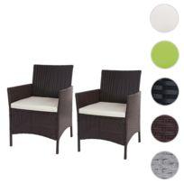 2x fauteuil de jardin Halden en polyrotin, fauteuil en osier ~ marron  chiné, coussin crème