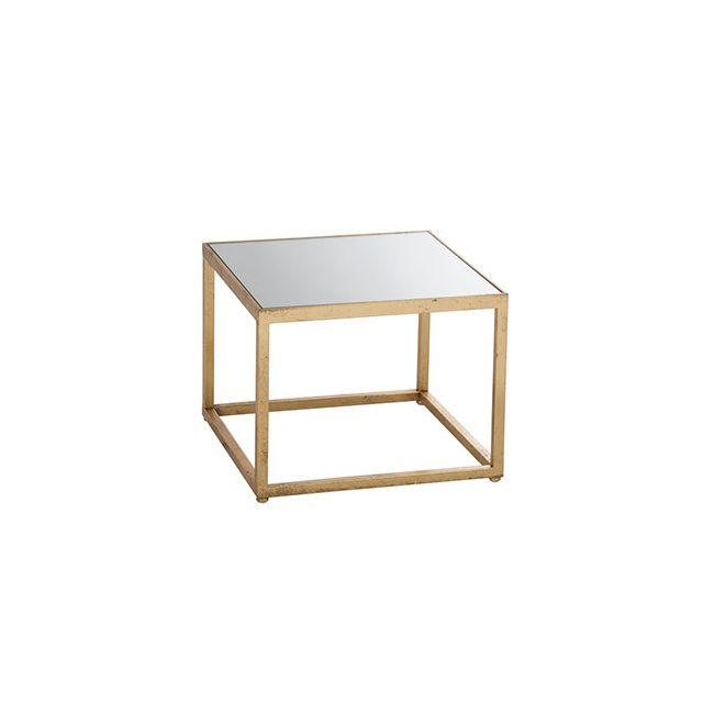 Table gigogne 47x58x37cm en verre et métal or