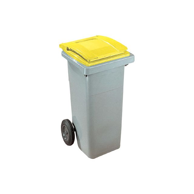 Conteneur à déchets 120 litres tri sélectif 2 roues jaune