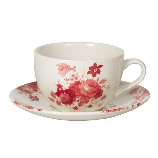 Table Passion Tasse à thé + soucoupe en faïence 24cl motif floral bordeaux / blanc - Lot de 6 pièces Lily Rose
