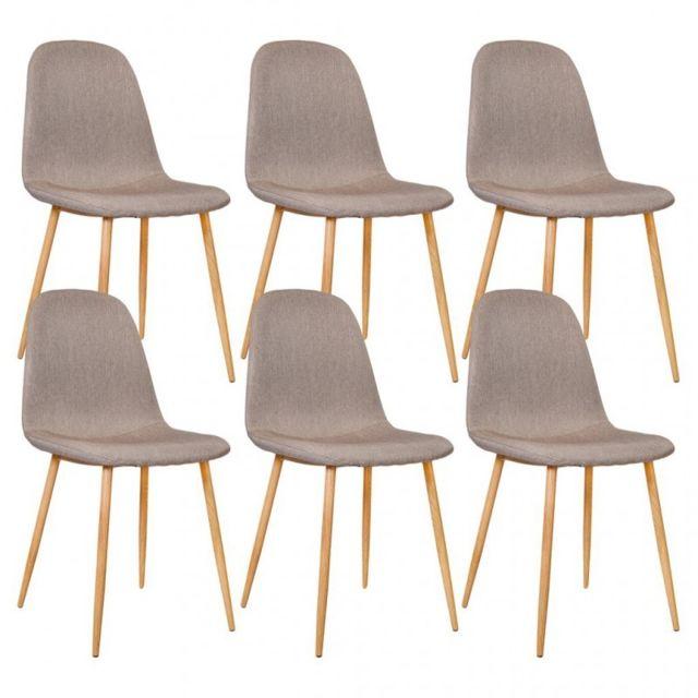 Zoli99 Klary Lot de 6 chaises scandinaves en tissu taupe