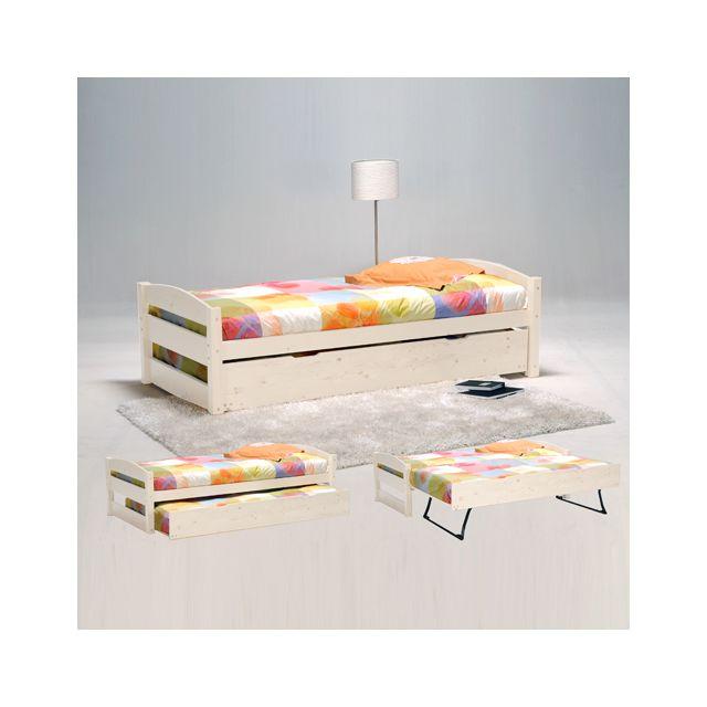 Lit gigogne Thomas 90x190 + 2 sommiers + 1 tiroir-lit / Blanchi