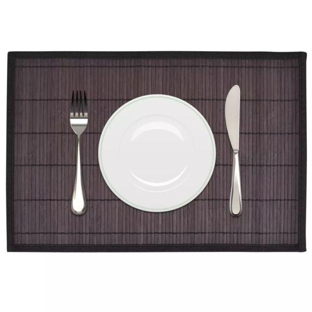 Splendide Linge de table gamme Brazzaville 6 Napperons en bambou 30 x 45 cm Marron Foncé