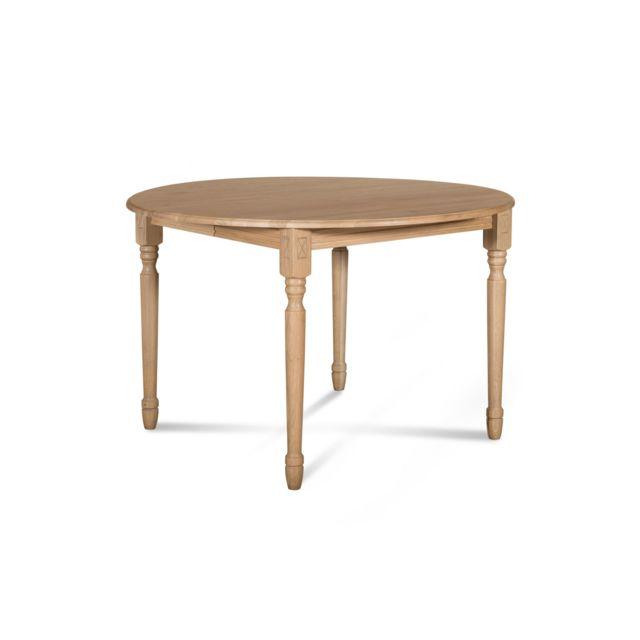HELLIN Table extensible ronde bois à rallonges - 115 cm - Pieds tournés - VICTORIA