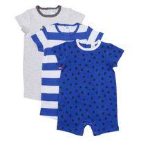 TEX BABY - Lot de 3 combicourts bébé en coton