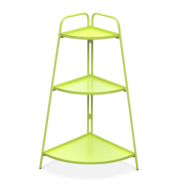 ALICE'S GARDEN Étagère d'angle Alicia vert anis, meuble de rangement pour intérieur et extérieur, 3 étages