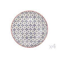 Table Passion - Assiettes plates en céramique D.26cm motifs rosaces bleu et orange - Coffret de 4 pièces Ushuaia