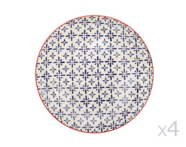 Table Passion Assiettes plates en céramique D.26cm motifs rosaces bleu et orange - Coffret de 4 pièces Ushuaia