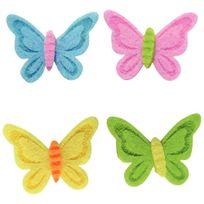 - déco en feutrine adhésives, thème fleurs et papillons - sachet de 24