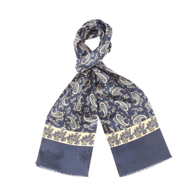 b5cb7a1aa4cc Touche Finale - Echarpe en soie Touche finale bleu marine à motifs  cachemires bleu marine et