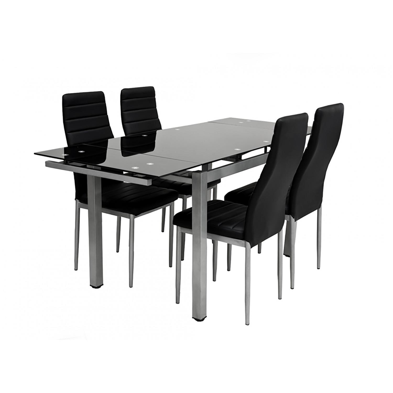Table + 4 chaises + 2 rallonges Plato Noir