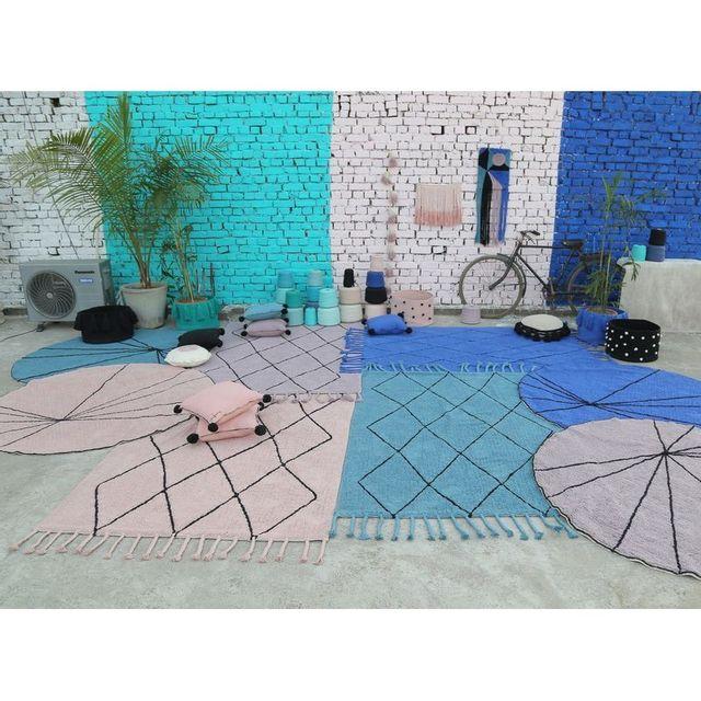 Lorena Canals - Tapis Trace bleu klein rond en coton lavable pour ...