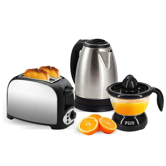 Pem Set petit déjeuner - Grille pain 2 fentes inox + Bouilloire inox 1.8L + Presse-agrumes