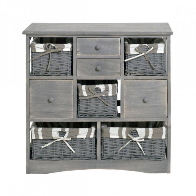 Mobili rebecca armoire commode 4 tiroirs 5 panier bois for Commode cuisine bois