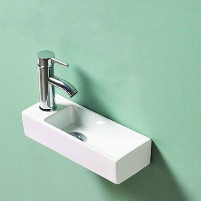 rue du bain lave main rectangulaire gain de place gauche c ramique blanc 38x15 cm. Black Bedroom Furniture Sets. Home Design Ideas