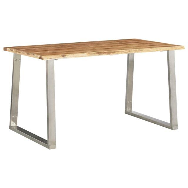 Joli Tables ligne Suva Table à dîner 140x80x75 cm Bois d'acacia et acier inoxydable