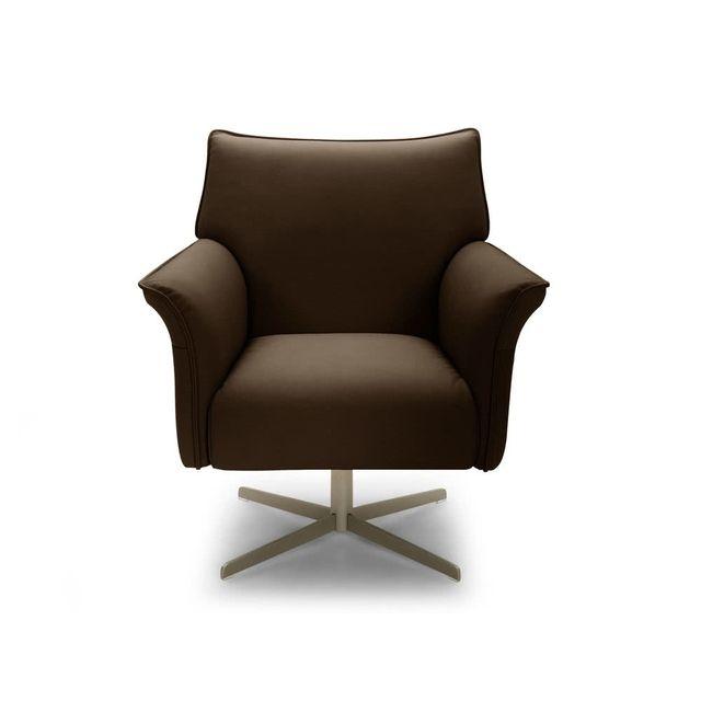 axe design fauteuil pivotant en cuir de vachette charles chocolat pas cher achat vente. Black Bedroom Furniture Sets. Home Design Ideas