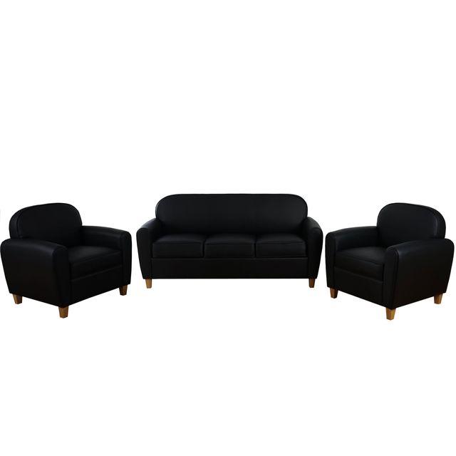 Mendler 3-1-1 garniture de canapés Malmö T377, canapé lounge, style rétro des années 50 ~ similicuir, noir