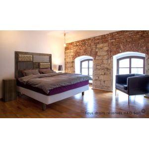 house and garden tete de lit bois massif design capitonnee 160 pas cher achat vente t tes. Black Bedroom Furniture Sets. Home Design Ideas